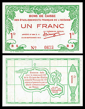 French Polynesian franc - Image: FRE OCE 11 French Oceania 1 franc (1943)