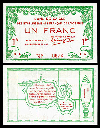Tahiti - A one-franc World War II banknote (1943), printed in Papeete, depicting the outline of Tahiti on reverse