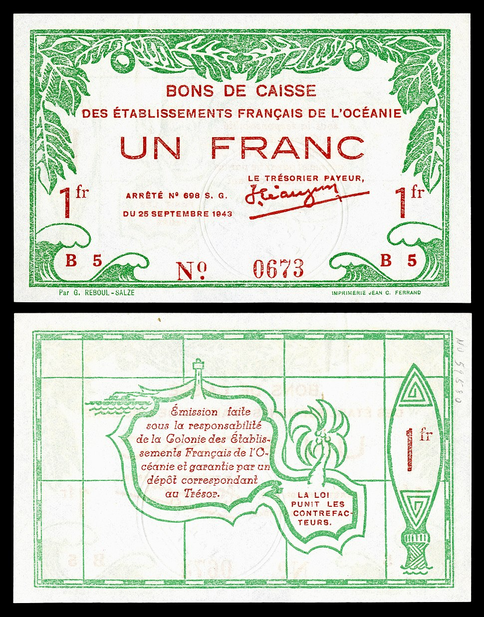 FRE-OCE-11-French Oceania-1 franc (1943)