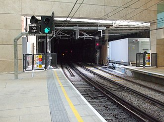 Snow Hill Tunnel (London) - The northern portal of the tunnel in 2012, seen from Farringdon station