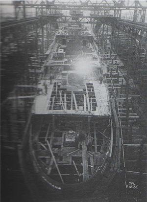 SS Fenella (1936) - Fenella under construction.