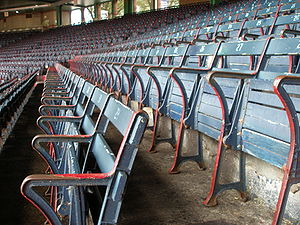 Fenway Park - The old wooden seats of Fenway's Grandstand section.