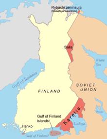 Un dibujo muestra que los finlandeses cedieron una pequeña parte de la península de Rybachy y parte de Salla en la Laponia finlandesa;  y una parte de Karelia y las islas del golfo de Finlandia en el sur, así como un contrato de arrendamiento en la península de Hanko en el suroeste de Finlandia.