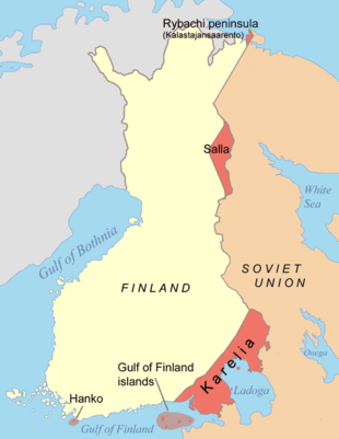 A drawing shows that the Finns ceded a small part of Rybachy Peninsula and part of Salla in the Finnish Lapland; and a part of Karelia and the islands of the Gulf of Finland in the south as well as a lease on the Hanko peninsula in South-Eastern Finland.