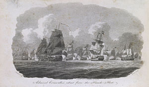 HMS Bellerophon (1786) - Admiral Cornwallis's Retreat from the French Fleet, an 1802 engraving of a work by William Anderson, depicting Cornwallis's Retreat