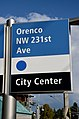 Flag-type station ID and direction sign for Orenco MAX station in 2017.jpg