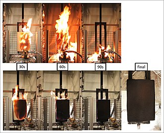 Polyurethane - Open-flame test. Top, untreated polyurethane foam burns vigorously. Bottom, with fire-retardant treatment.