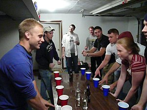 Beginning of a Flip cup game