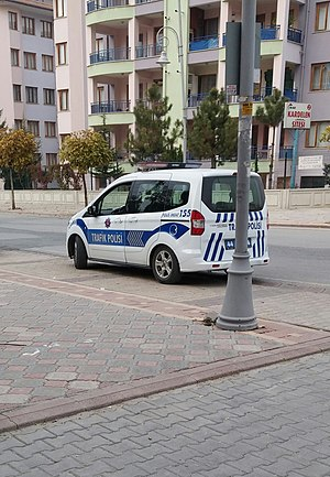 Traffic police - A 2015 Ford Tourneo Courier police car of General Directorate of Security, Turkey