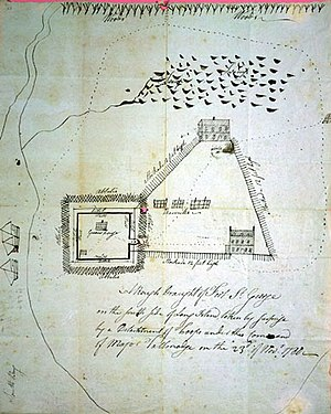 Manor St. George - The Manor St. George as sketched by Benjamin Tallmadge during the Revolutionary War