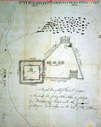 Battle of Fort St. George - Sketch by Benjamin Tallmadge of Fort St. George