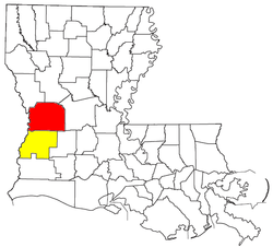 Location of the Fort Polk South-DeRidder CSA and its components:   Fort Polk South Micropolitan Statistical Area   DeRidder Micropolitan Statistical Area