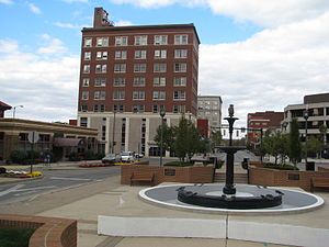 Springfield, Ohio - Fountain Square, Arcue Building in background.