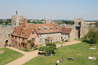 Framlingham Castle - The poorhouse, with the Red House wing (l), the 18th century middle wing and the remains of the old Great Hall (r)