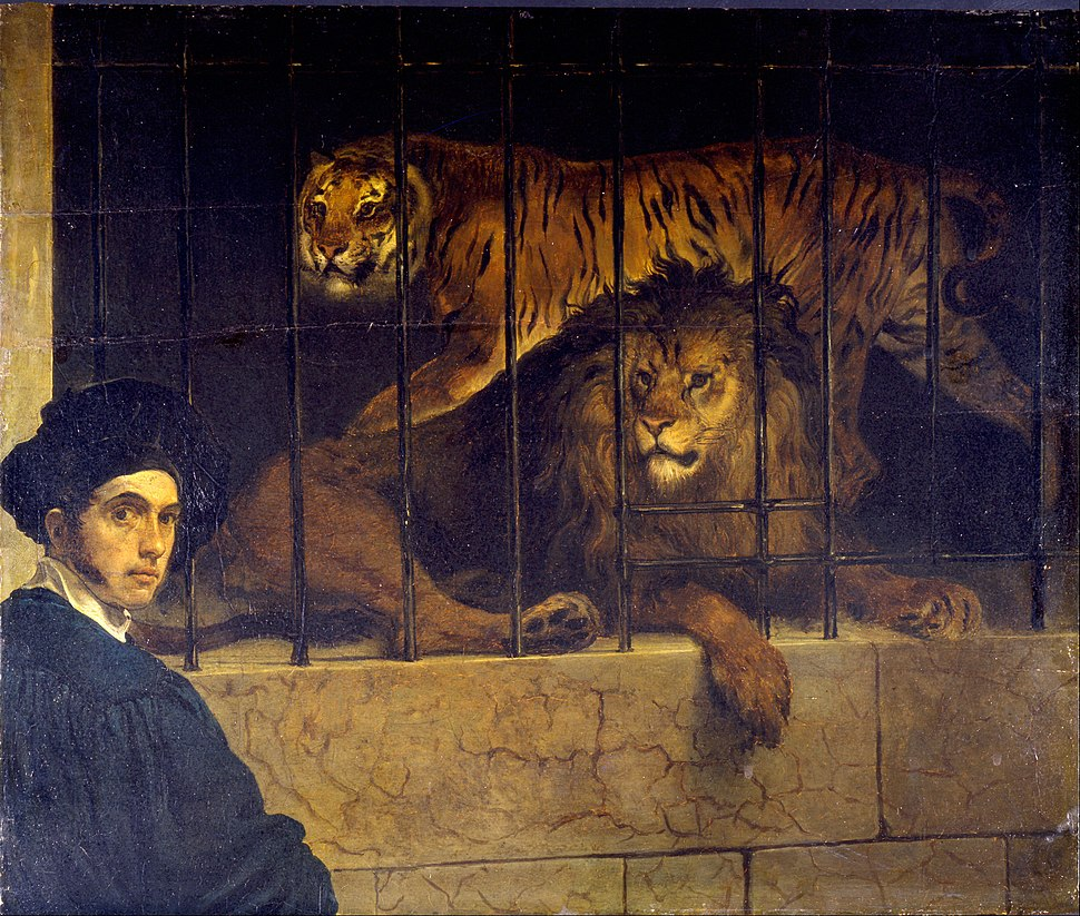 Francesco Hayez - Self-portrait with Tiger and Lion - Google Art Project