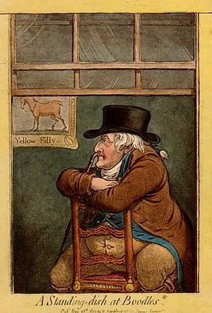 Parisot (horse) - Sir Frank Standish, Parisot's breeder and owner, in a caricature by James Gillray. A portrait of the Yellow Filly, sister of Parisot's dam, is on the wall behind Standish.