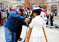 Frank Yanick, left, a Pearl Harbor survivor, and U.S. Navy Rear Adm. Patrick J. Lorge, second from left, the commandant of Naval District Washington, place a wreath at the Navy Memorial to commemorate the 71st 121207-N-KV696-086.jpg