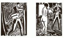 Two pages from a woodcut novel by Frans Masereel