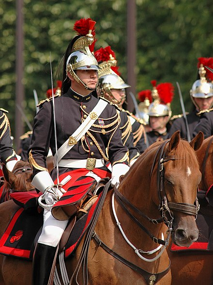Horseman of the Republican Guard during the 2007 military parade on the Champs-Elysees French Republican Guard Bastille Day 2007 n1.jpg