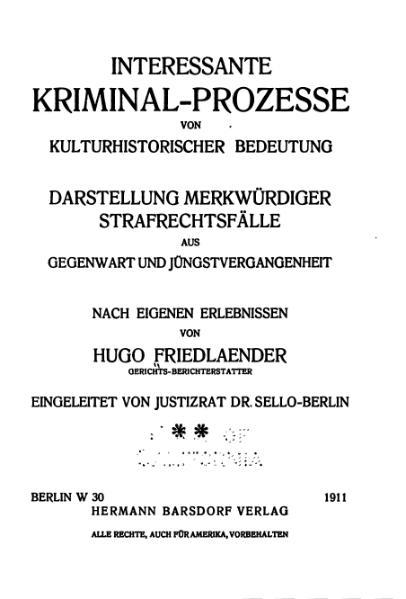 File:Friedlaender-Interessante Kriminal-Prozesse-Band 2 (1911).djvu