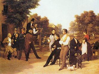 Nine-pin bowling - Historic depiction of Nine-pin bowling by Friedrich Eduard Meyerheim (1834)