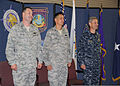 From left, U.S. Air Force Col. Rick Watson, Col. Rhude Cherry and Navy Rear Adm. Scott Stearney, commander of the Joint Enabling Capabilities Command, stand at attention during the Joint Planning Support 130628-D-EW431-626.jpg