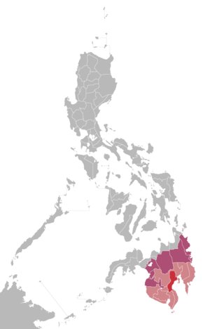 DXMJ-TV - Red: Home location of GMA Davao Light red and red: Market audience of GMA Davao Violet: Areas that may receive signals from GMA Davao