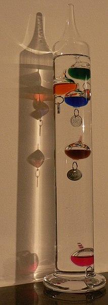 File:Galileithermometer 20°C.JPG