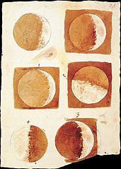 Sketsa Bulan oleh Galileo. Melalui pengamatan, diketahui bahwa permukaan Bulan berbukit-bukit.