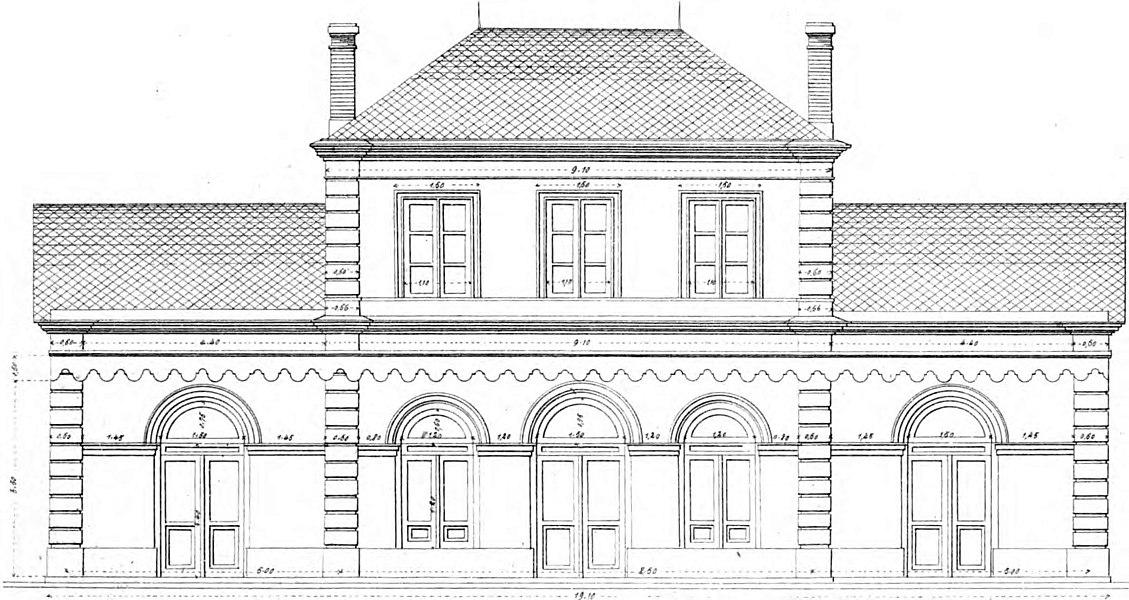 Plan, élévation de la façade du bâtiment voyageurs de la gare de Saint-Mathurin. Architecte Lachèze pour la Compagnie du PO vers 1852.