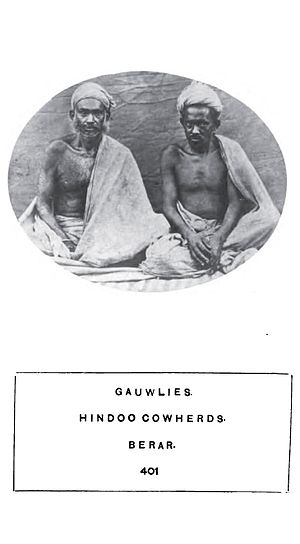 Yadav - Two cowherds from the Gauwli caste (now a part of the Yadav group) in Berar (now in Maharashtra) 1874.