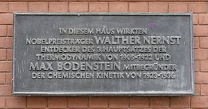 Max Bodenstein - Nernst/Bodenstein commemorative tablet