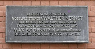 Max Bodenstein - Nernst/Bodenstein commemorative tablet