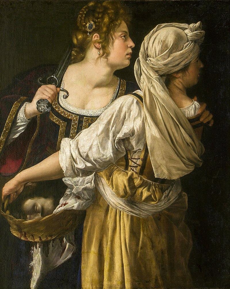 Judyta ze służącą, Artemisia Gentileschi, olej na płótnie 1618-1619