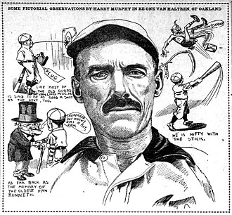 George Van Haltren - A drawing of George Van Haltren by Harry Murphy which was published in the May 2, 1909 edition of The Sunday Oregonian.