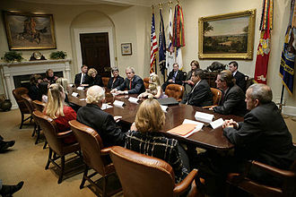 West Wing - Image: George W. Bush meets in Roosevelt Room October 20, 2006
