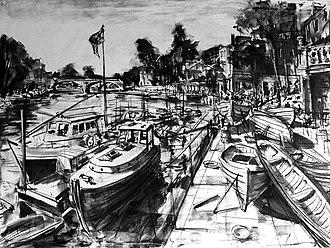 Gerard Byrne (artist, born 1958) - Summer Breeze Richmond, London, charcoal on canvas by Gerard Byrne, 2015