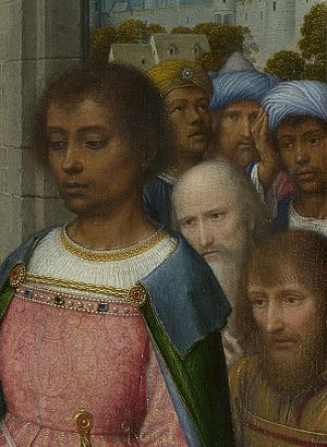 Adoration of the Kings (David, London) - Detail of the heads at right