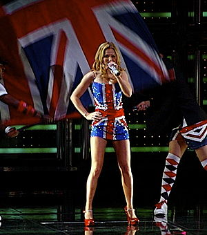 Union Jack dress - Halliwell performing on tour wearing the Union Jack dress remake.