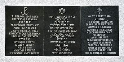 Gęsiówka liberation memorial plaque at 34 Anielewicza Street - the inscription is in Polish, Hebrew and English