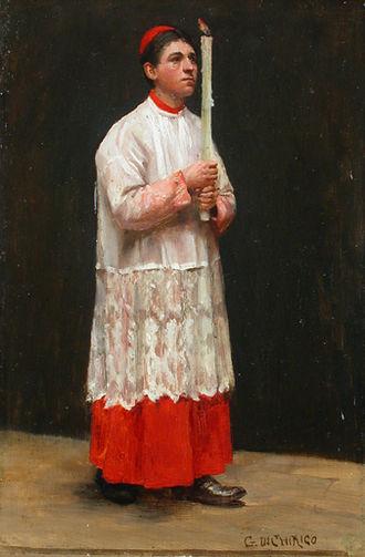 Religious clothing - Il ministrante, by Giacomo di Chirico (1844–1883).