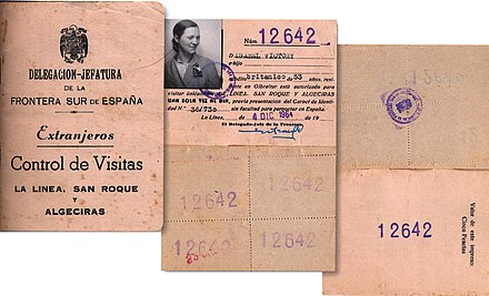 Spanish border pass for Gibraltarian residents, permitting day visits only. Gibraltar-LaLinea-Algeciras-multiDayTripPass 1964.jpg
