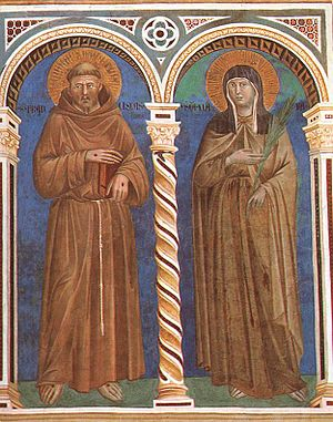 Giotto di Bondone - Saint Francis and Saint Cl...