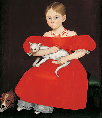 Ammi Phillips - Ammi Phillips, Girl in Red Dress with Cat and Dog, 1830-1835