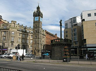 Glasgow Cross - Glasgow Cross with Tolbooth Steeple and Mercat Cross.