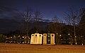 Glass salvage containers in front of Park Tenreuken during the evening nautical twilight (Auderghem, Belgium, DSCF2726).jpg