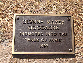 Glenna Goodacre - Goodacre was inducted in 1997 into the West Texas Walk of Fame in Lubbock.