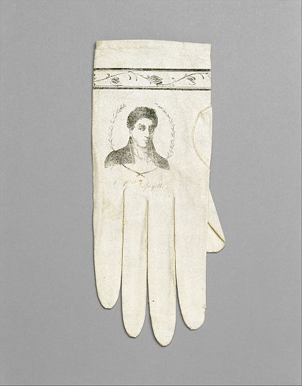 Gloves portraying Lafayette, possibly commemorating his visit to the United States in 1824 Gloves MET DT435.jpg