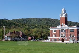 Gorham, New Hampshire - Gorham Common, with the restored train depot on the left and Gorham Town Hall on the right