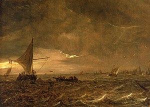 Jan van Goyen - Fishing Boats in an Estuary at Dusk, 1644